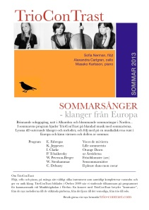 Trio ConTrast summer tour 2013